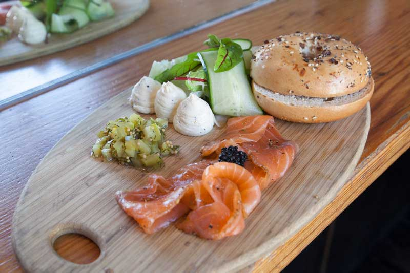 Salmon Bagel from the food menu at Auction Rooms Restaurant North Melbourne